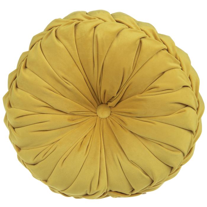 mustard velvet round pillow