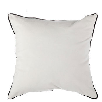 white canvas pillow cover with black trim small