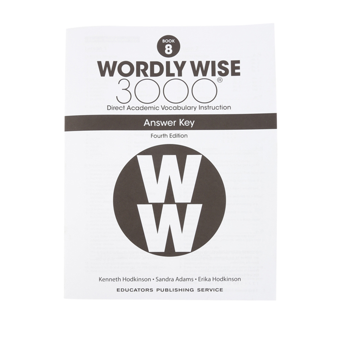 Wordly Wise 3000 4th Edition Answer Key Book 8, Paperback
