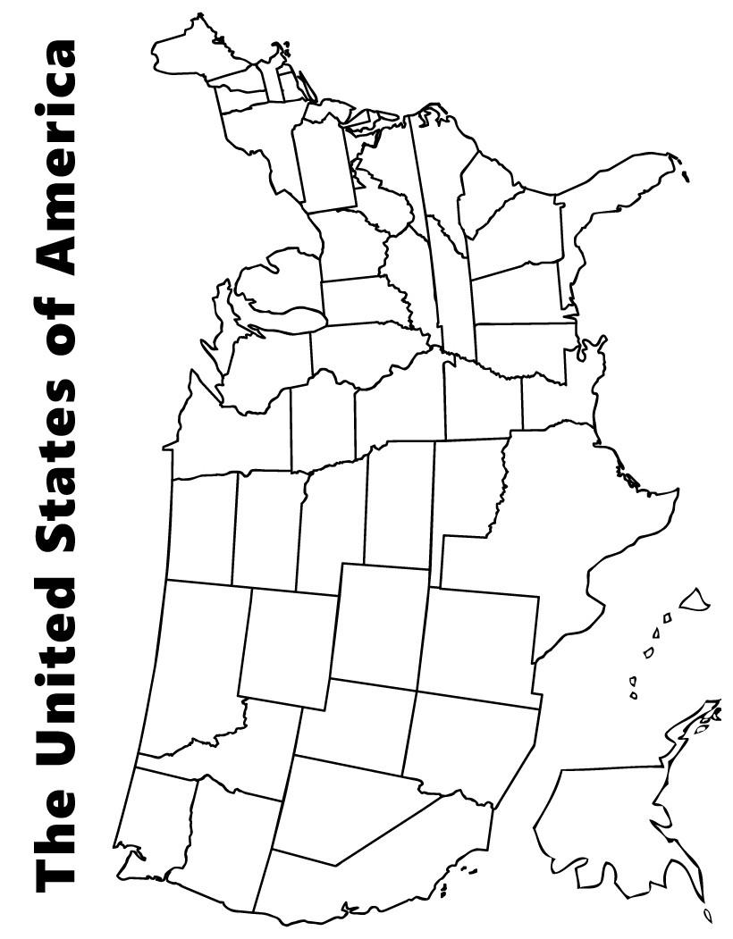 Desenhos para colorir de mapa dos estados unidos para