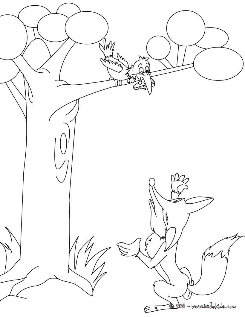 Desenhos para colorir de desenho do corvo e a raposa para