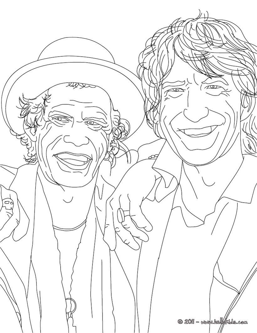 Desenhos Para Colorir De Desenho De Cantores Mick Jagger E