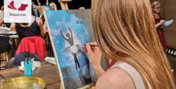 3 часа рисуване върху платно под напътствията на професионален художник
