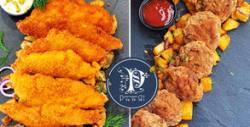 1.2кг хапване за вкъщи! Пилешко филе, 10 пържени кюфтета или филе от бяла риба, плюс картофки или зелена салата