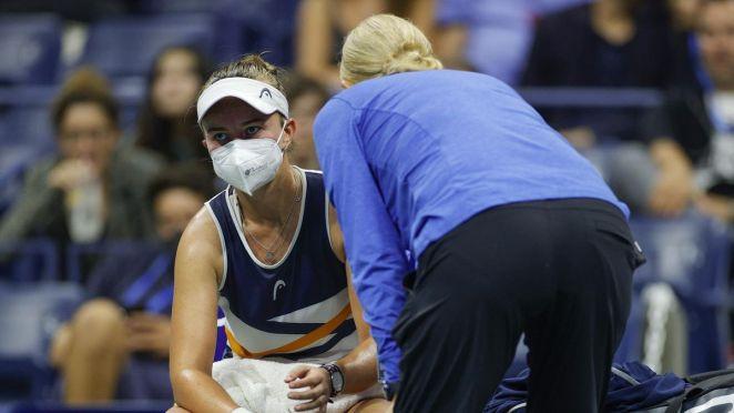 Barbora Krejcikova lors de son match face à Garbiñe Muguruza en 8e de finale à l'US Open 2021