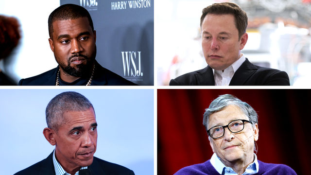 Kanye West, Elon Musk, Barack Obama, Bill Gates
