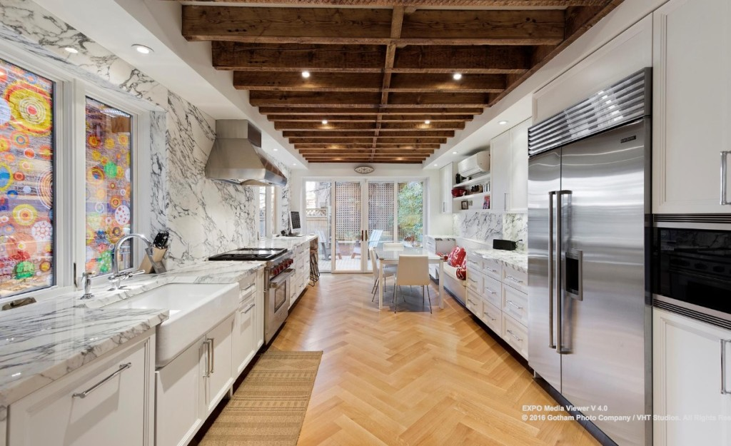 kitchen pass through window back splash for $8m park slope brownstone is historic and luxurious with a ...