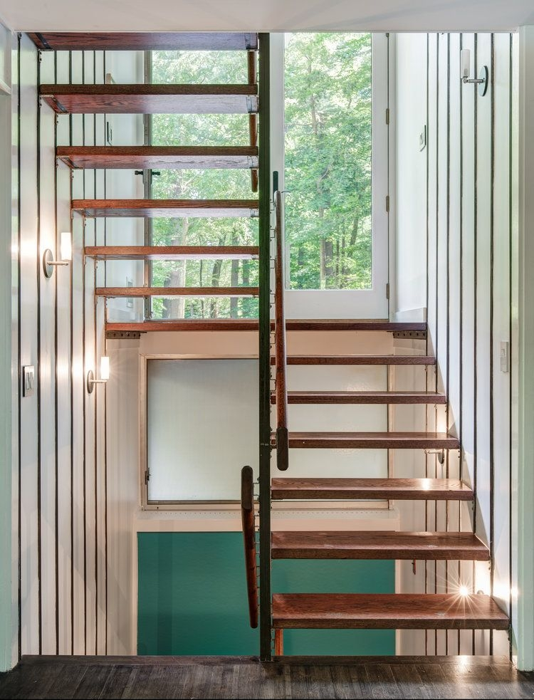 For 1 7M A Mid Century Masterpiece In Connecticut S Modernist   Mid Century Modern Stairs   Modern Craftsman   Design   Modern Middle House   Industrial Modern   Lighting