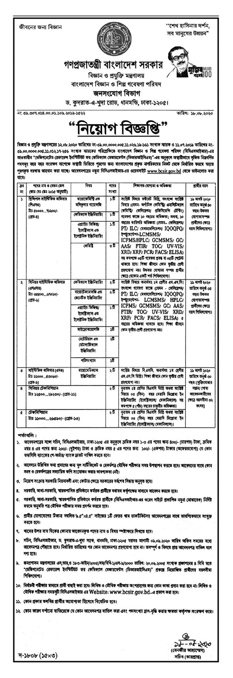 Ministry of Science and Technology Job Circular 2020