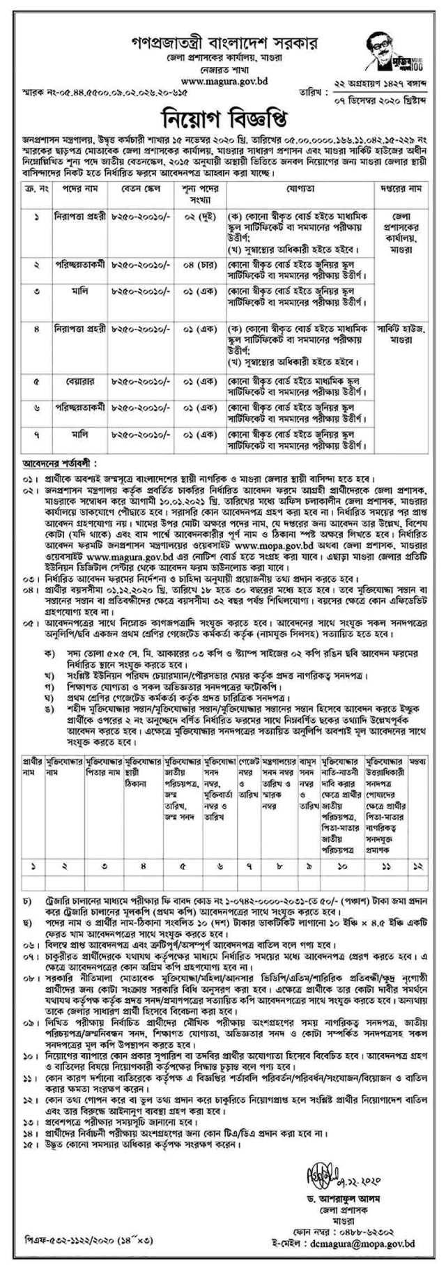 Magura District Commissioner Office Job Circular 2021 (Image)