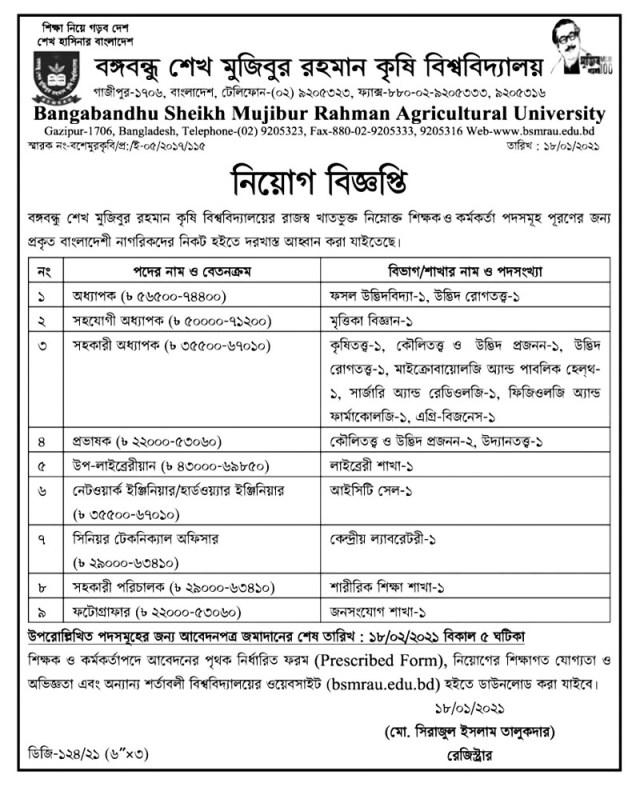 Bangabandhu Sheikh Mujibur Rahman Agricultural University Job Circular 2021