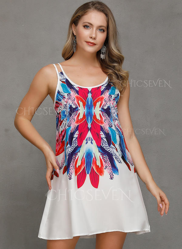 Print Sleeveless Shift Above Knee Casual Vacation Dresses 199230853 Dresses 230853 Chicseven