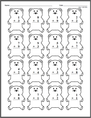 First Grade Mad Minute Timed Math Drill Worksheets