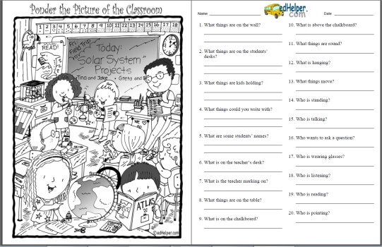 Find and Ponder the Hidden Picture Puzzles Worksheets