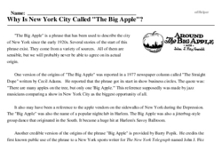 Why Is New York City Called The Big Apple Reading Comprehension Worksheet Edhelper