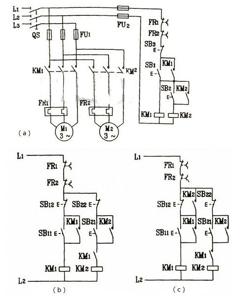 Three phase motor sequence start control circuit diagram