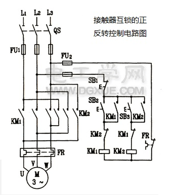 Forward and reverse control circuit of contactor interlock