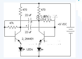 Circuit diagram of flasher with discrete components