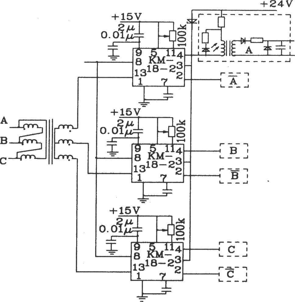 Three phase fully controlled bridge trigger circuit