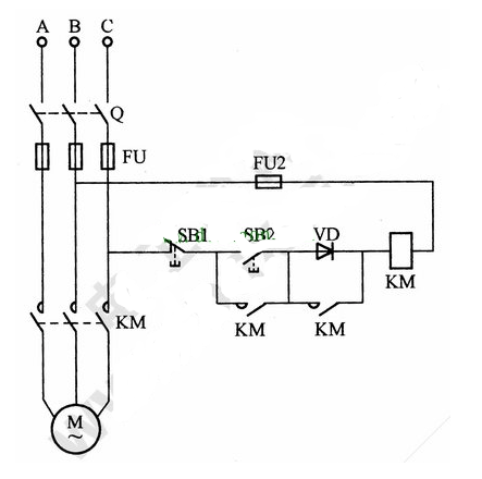 Wiring diagram of AC contactor low voltage starting motor