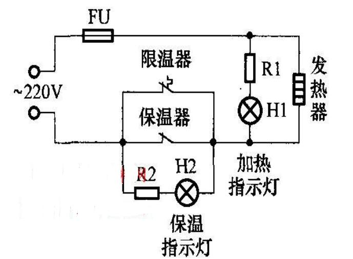 Schematic diagram of electric cooker fire control circuit