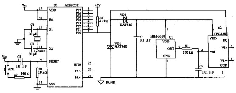 Characteristics of single bus device DS2438 and design of