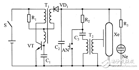Complete circuit diagram of voice controlled flash lamp