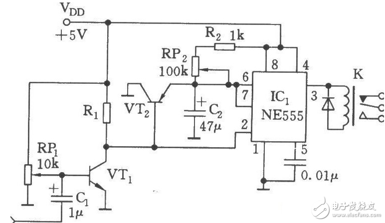 Complete circuit diagram of relay switch (optical switch
