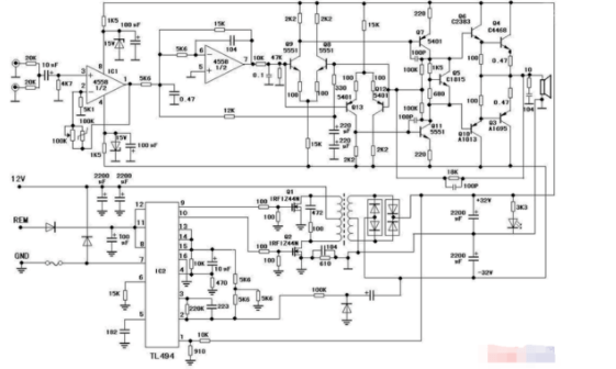 Subwoofer amplifier circuit board and circuit diagram