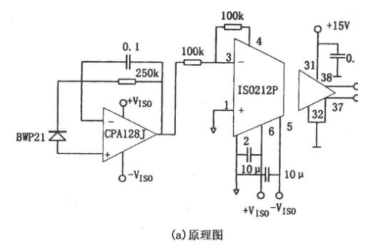 Precise photoelectric detection circuit using opa128