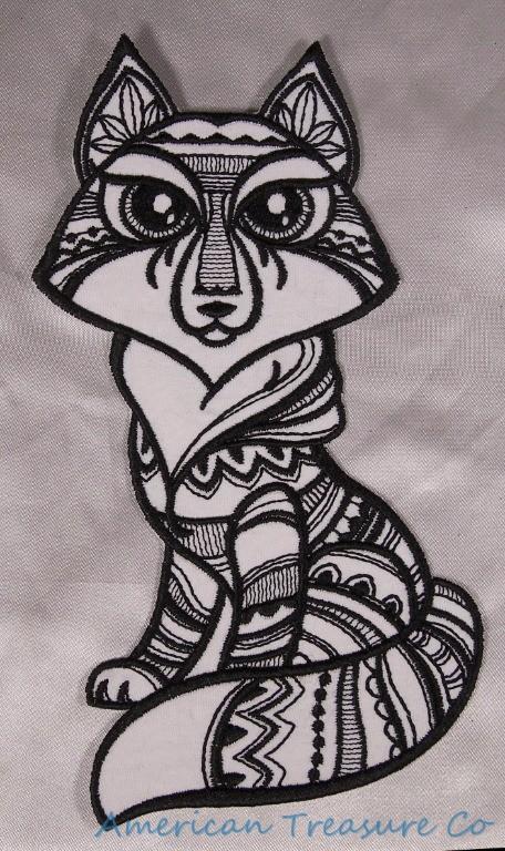 Detalles De Bordado 178cm Tatuaje Tribal Zorro Animal Negro Y Blanco Colorear Arte Parche