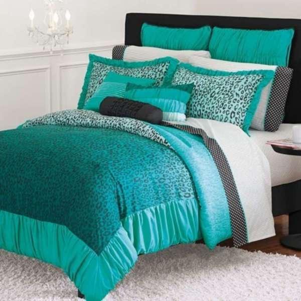 Candies-wild -teal Leopard Comforter Twin Xl Dorm
