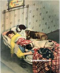 BOY ST.BERNARD DOG IN BED*TWO FABRIC BLOCKS*ON THE Q.T. | eBay