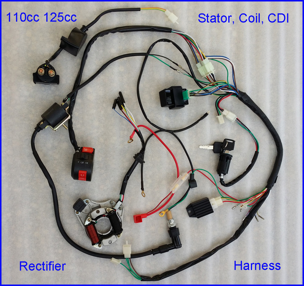 hight resolution of autd041 1 110cc complete wire harness wiring cdi assembly atv quad