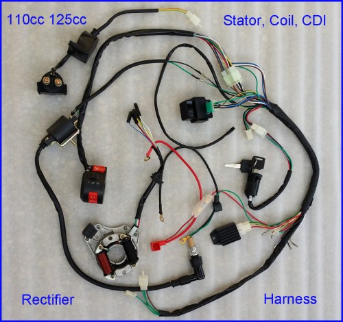 small resolution of autd041 1 110cc complete wire harness wiring cdi assembly atv quad