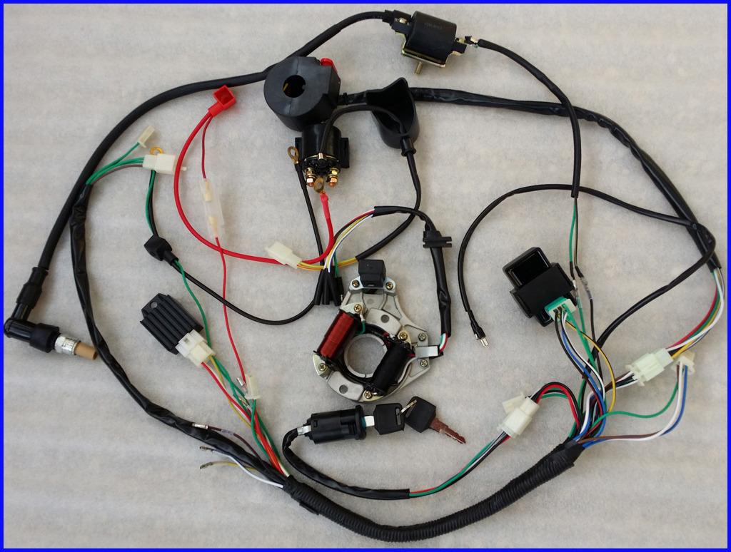 hight resolution of full electrics wiring harness cdi coil 110cc 125cc atv quad bike rh ebay com au 70cc