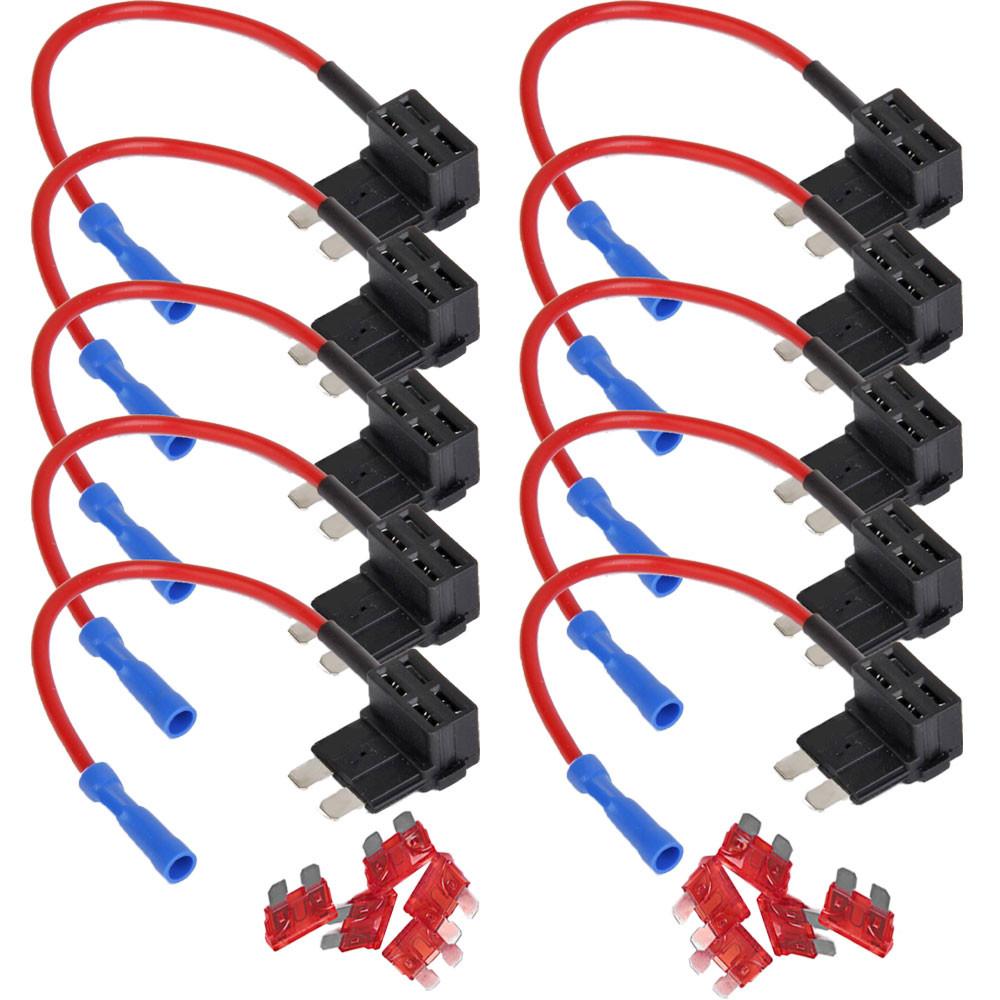 hight resolution of car 10pcs add circuit 10a acu piggy back tap standard blade fuse box holder