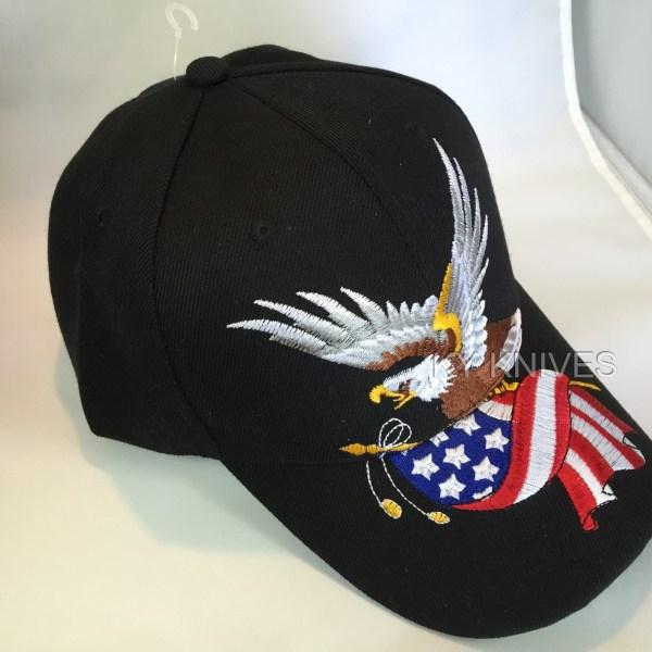 Bald Eagle Withamerican Flag Patriotic Embroidered Baseball