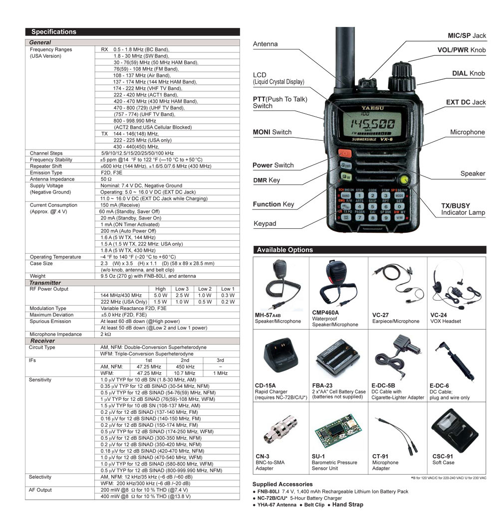 Yaesu VX-6E 5 WATTS VHF-UHF UNLOCKED TX and RX including