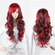 black red anime long curly