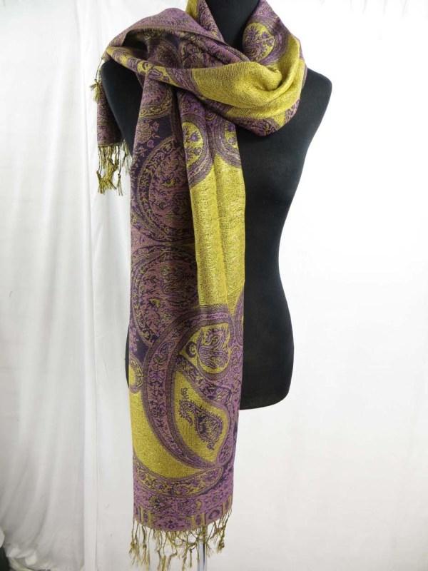 Bulk Scarf 10 Metalic Gold Thread Paisley