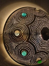 Moroccan Silver Plated Brass Jeweled Lamp - Flush Mount ...