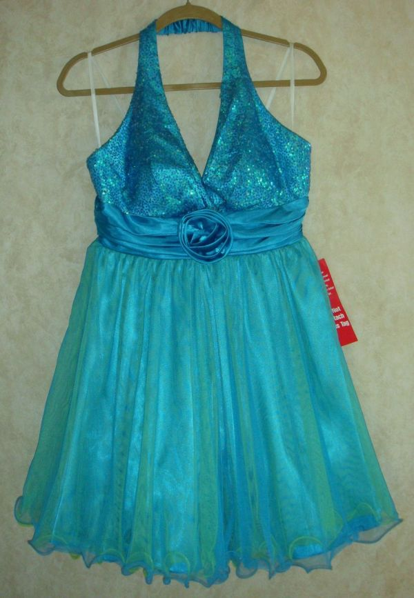 Jr 9 City Triangles Turquoise Blue Sequin Top Tulle