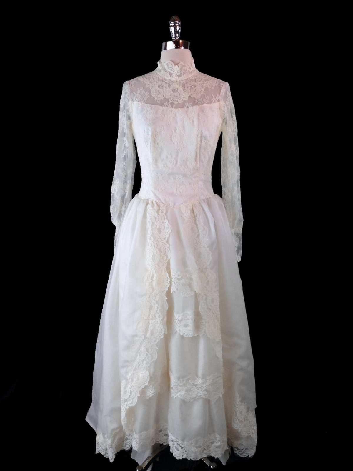 Vtg 60s Wedding Dress Xs Lace Chiffon Tiered Gown