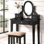 Beautiful Bobkona Collection Vanity Makeup Table Stool Set Black Ebay