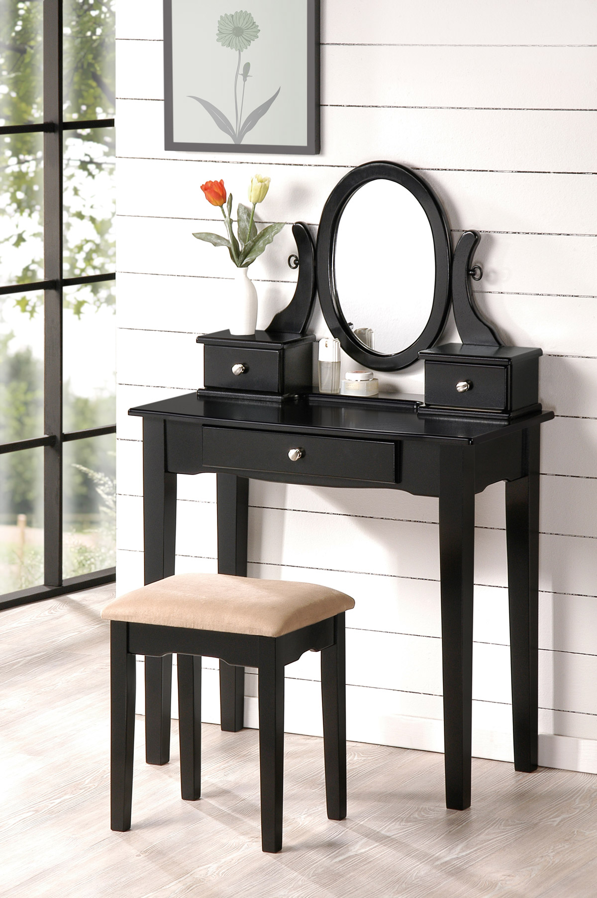 vanity with chair and mirror how to buy a lift beautiful bobkona collection makeup table stool