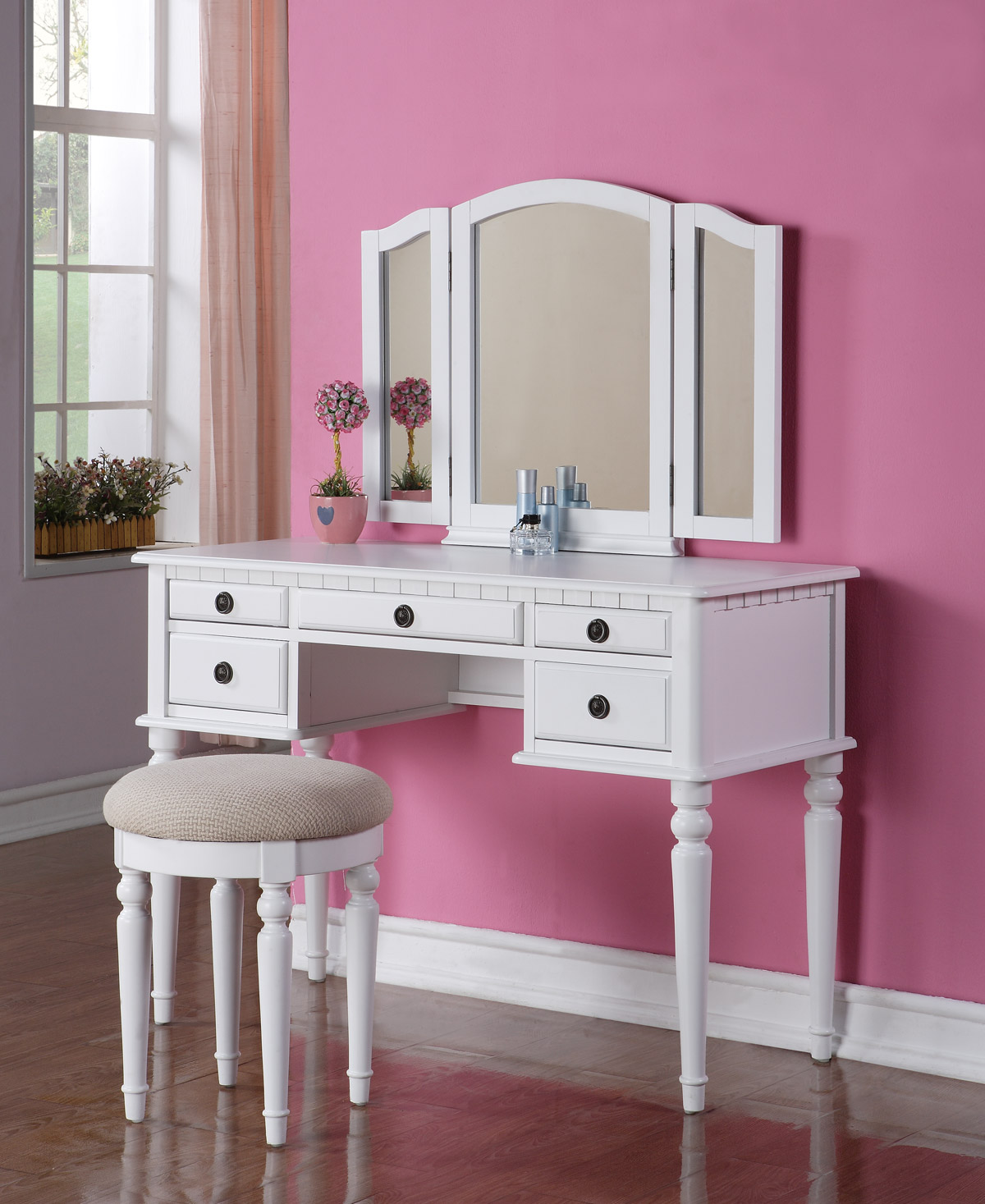 Beautiful 3PC Elegant White Finish Vanity Table Mirror  Stool Makeup Set  eBay