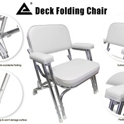 Folding Chairs For Boats Revolving Chair Vadodara Leader Accessories Deck With Aluminum Frame White New 20201035