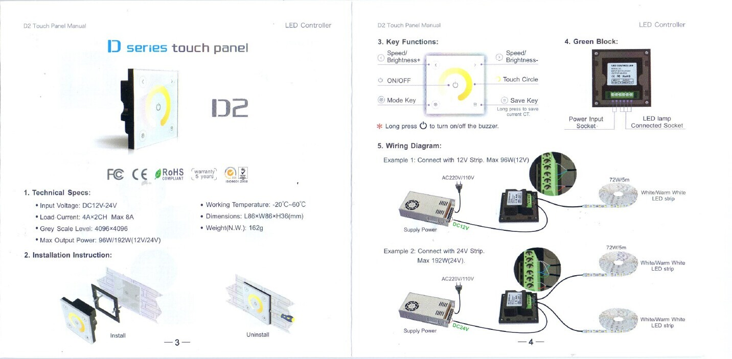 Touch Panel Dimmer Switch Color Temperature Controller For