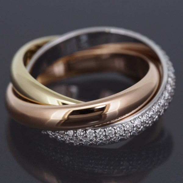 Cartier 18k Tri Color Gold 3 Bands Trinity Rolling Ring